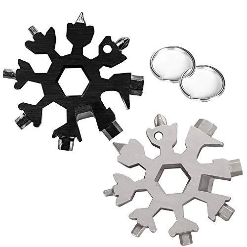 Wabin 18 in 1 Schneeflocke Edelstahl Tragbares Multifunktionswerkzeug, 2 Stück Schneeflocke Multifunktions-Schraubendreher Dosenöffner Anti-Lost-Schlüsselanhänger Tragbare (Schwarz und Silber)