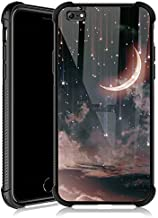 iPhone 6s Plus Case,Crescent Nebula iPhone 6 Plus Cases for Girls,Tempered Glass Back Cover Anti Scratch Reinforced Corners Soft TPU Bumper Shockproof Case for iPhone 6/6s Plus Moon Star Sky Shine