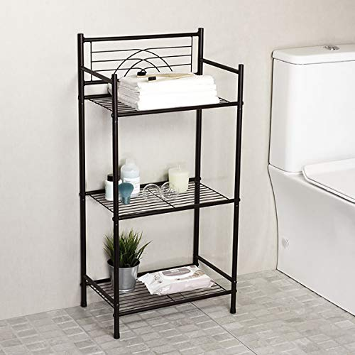 L&H Unico 3-Tier Free Standing Wire Rack Heavy Duty Metal Shelving Storage Unit for Bathroom Laundry Kitchen Office, Black