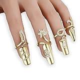 4x Damen Luxus-Fingernägel Ring Fashion Strass Finger Nail Ringe Schutz