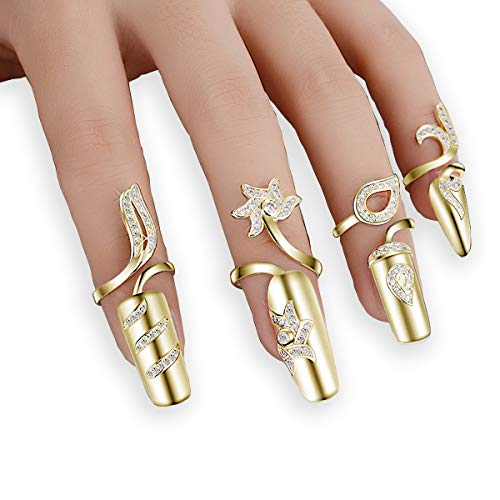 4x Damen Luxus-Fingernägel Ring Fashion Strass Finger Nail Ringe Schutz Knuckle Nail Ring Blume Dekoration Spitze Nail Art Charm Krone Kristall Schleifendesign Nail Gap Art (Goldene Farbe)