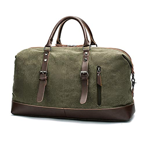 Oversized Travel Duffel Bag, Waterproof Leather Weekend Bag Overnight Large Carry On Hand Bag - green - 21.65x9.84x12.59