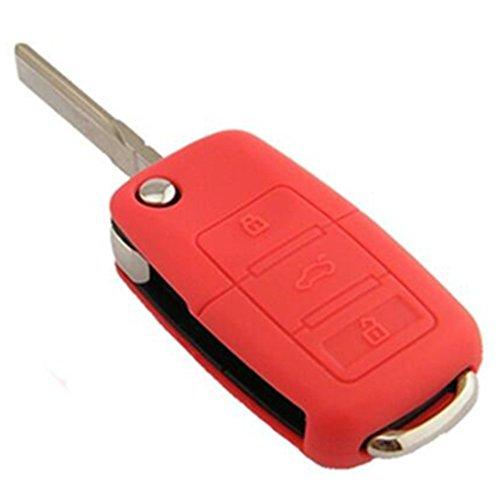 Tuqiang 1 coque de clé pliante à 3 boutons en silicone rouge pour VW Golf Polo Touran Passat