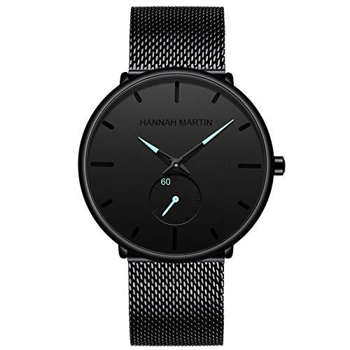 YQCH Reloj de Cuarzo para Hombres Negro Minimalista Analógico Ultra Delgado Reloj de Cintura Delgada Estilo Simple Banda de Malla de Acero Inoxidable (Color : A)