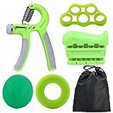 Hbao 5 unid/Set Gimnasio Fitness Juego de Agarre de Mano Ajustable Dedo antebrazo Fuerza recuperación Muscular Agarre de Mano Pesado Entrenador (Color : Green)