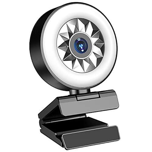 GRUOIZ Webcam 1080P HD con anillo de luz y micrófono Cámara USB para PC Monitor Pantalla Laptop Mac Streaming
