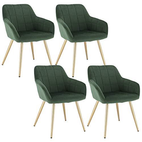 WOLTU 4 x Esszimmerstühle 4er Set Esszimmerstuhl Küchenstuhl Polsterstuhl Design Stuhl mit Armlehne, mit Sitzfläche aus Samt, Gestell aus Metall, Gold Beine, Dunkelgrün, BH232dgn-4