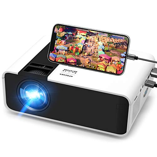Mini Beamer, Tulab 5000 Lumen Heimkino Beamer, 1080P Full HD Unterstützt tragbarer Projektor mit 50000 St. LED und 200 Display, kompatibel mit TV Stick, HDMI, AV, VGA, USB, PS4, iOS/Android Smartphone