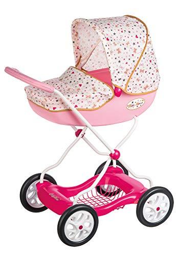 Smoby Shara Baby Nurse 250403 Kinderwagen für Babys bis 42 cm, mit unterem Tablett, für Kinder ab 3 Jahren