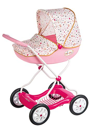 Smoby Carrito Shara Baby Nurse para Muñecas Bebé de hasta 42cm, con Bandeja Inferior, para Niños a Partir de 3 Años (250403)