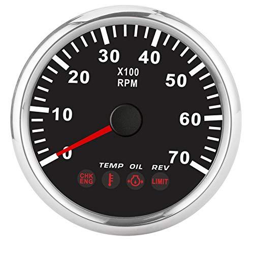 Qiilu Tacómetro, medidor de tacómetro de 0‑7000 RPM con alarma de falla del motor de temperatura de presión de aceite para barco, motocicleta, camión(negro)