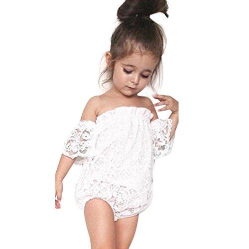 a72b39895 Sunbona Toddler Infant Baby Girl Flower Lace Off Shoulder Romper Jumpsuit  Outfit Set Clothes