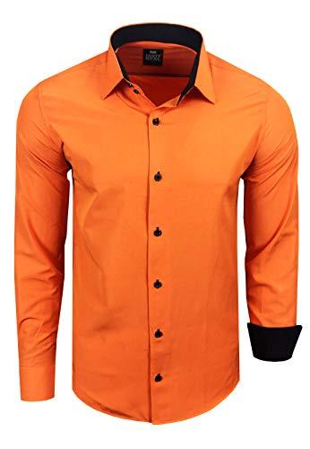 Rusty Neal Herren Hemd Stretch Business Kontrast Hemden Bügelleicht Slim 31 Farben S - 4XL, Farbe:Orange, Größe:L