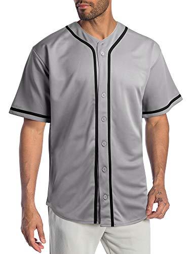 Hat and Beyond Mens Baseball Jersey Stripe Button Down Shirts Team Sports Uniforms (Medium,1DL01_Gray)