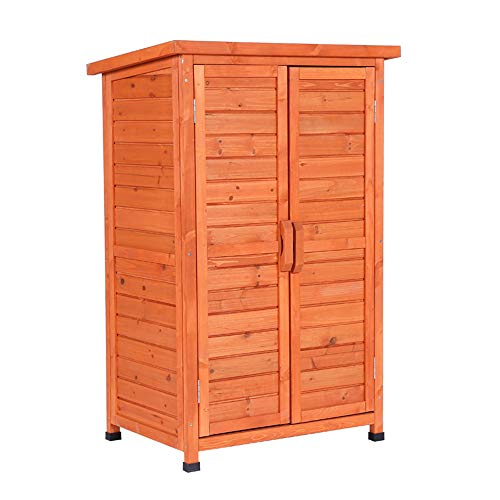 household products Outdoor balcony storage shed garden tool storage cabinet, 3-layer double door sundries storage cabinet with locking door, for garden, courtyard and farm