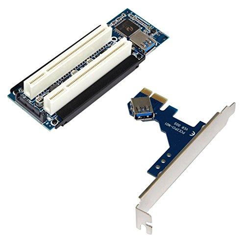 PCI-E Express X1 デュアル PCI ライザー エクステンダ カード アダプタ USB 3.0ケーブル付き PCI 変換アダプター USB拡張カード Piecex PCI-E To Pci