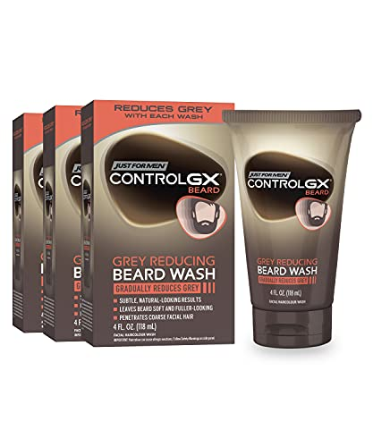 Just For Men Control GX Grey Reducing Beard Wash Shampoo, Gradually Colors Mustache and Beard, Leaves Facial Hair Softer and Fuller, 4 Fl Oz – Pack of 3