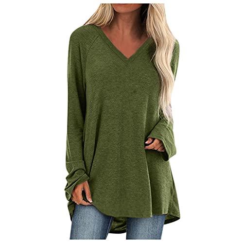 Wave166 Blusa para mujer, elegante, sexy, monocolor, cuello en V, manga larga, holgada, informal, holgada, bloque de color, jersey de otoño, blusa grande, verde, XXL