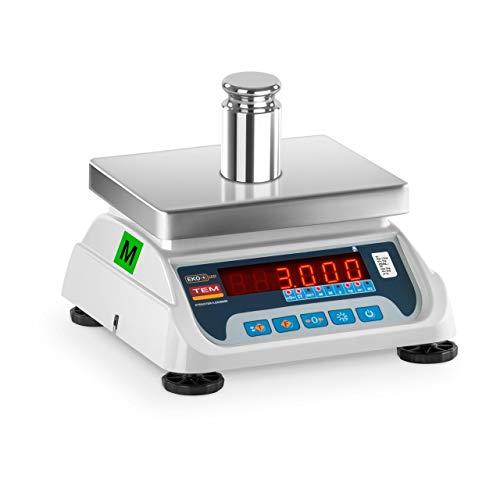TEM Balance Poids-Prix Commerce Marché TEKO+LED03T-PLS-B1 (Calibrée, 1,5 kg/3 kg, 0,5g/1 g, Écran LED, Batterie Jusqu'à 40h, Différentes Fonctions)
