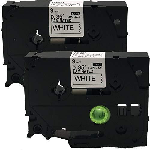 Neouza 2PK compatibile per Brother P-Touch Laminated TZe TZ Label tape Cartridge 9mm x 8m TZe-221 Black on White