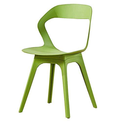 WSDSX Stuhl Modernes Design Esszimmerstühle Rückenlehne hohles Design Studienstuhl Für Office Lounge PP Kunststoffsitz Wohnzimmer Lounge Stuhl Lagergewicht 120 kg 44x44,5x80cm (Farbe: Grün)