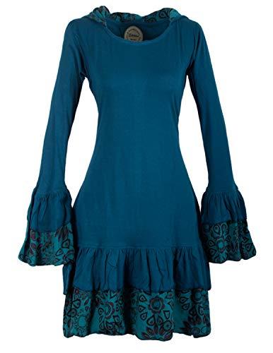 Vishes - Alternative Bekleidung - Lagenlook Langarm Elfenkleid mit Zipfelkapuze und Rüschen türkis 38