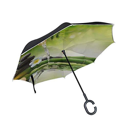 Double Layer Inverted Invert Umbrellas Stones Im Garten Mit Flow Water Bamboo Umbrella Inverted Winddichter Wendeschirm Für Herren Winddichter UV-Schutz Für Regen Mit C-förmigem Griff