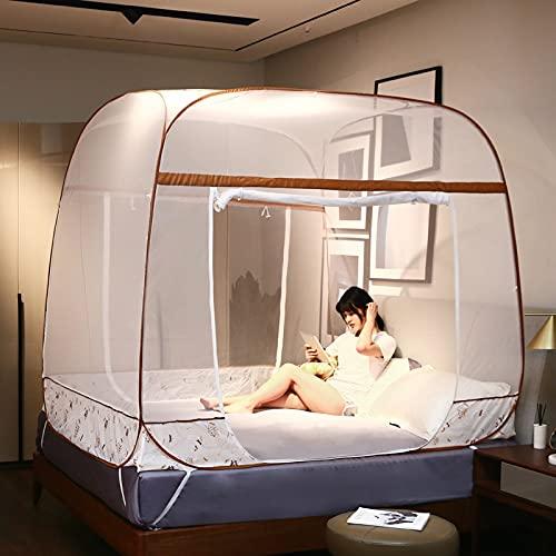 Depruies Tela mosquitera, A25 Pop Up Mosquito red para cama doble, camioneta portátil Viaje de doble puerta con cremallera de doble puerta, fácil instalación, malla fina, para el dormitorio al aire li