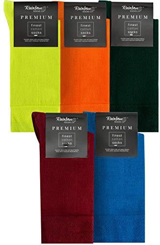 Rainbow Socks - Hombre Elegantes Calcetines Antibacterianos con Iones de Plata - 5 Pares - Limon Amarillo Naranja Botella Verde Rojo Oscuro Azul - Talla 42-43