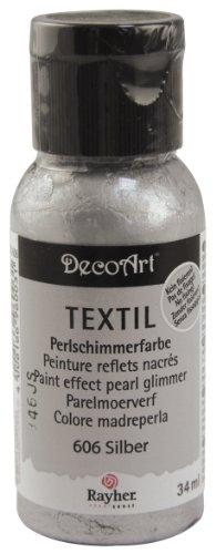 Rayher 38502606 Glanz Textil Stoffmalfarbe/ Textilfarbe silber, Flasche 34 ml, hochdeckend, cremige Acrylfarbe speziell für Textilien, waschfest, irisierend, glänzend, Perl-Schimmer