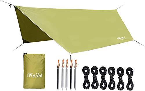 iNeibo Zeltplane aus Robustem Wasserdichtem Material mit 5 Zeltheringe und 6 lange Schnüre. Größe: 4x3m Olivgrün
