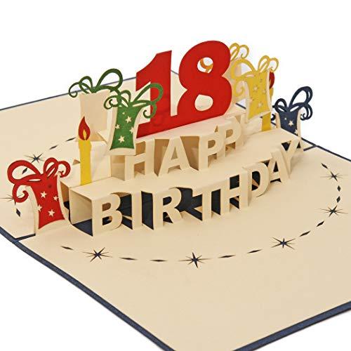Carte d'anniversaire Favour - Pour célébrer le 18ème anniversaire - Style Pop-up Une œuvre d'art en filigrane, qui se déplie lors de l'ouverture de la couverture bleue TA18B