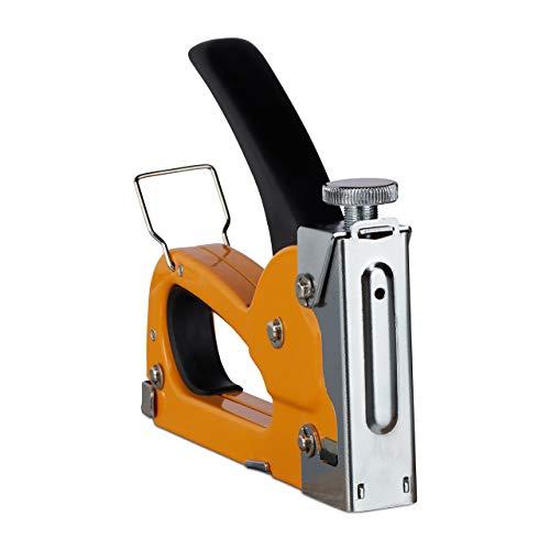 Relaxdays Grapadora Tapicero 500 Grapas, Industrial, Manual, Potencia Ajustable, Cartucho 4-8 mm, Hierro, 1 Ud., Naranja