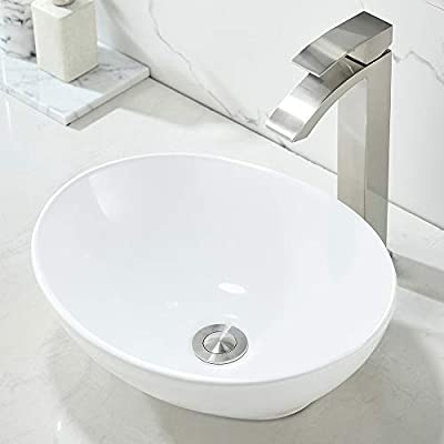 """Bathroom Vessel Sink and Faucet Combo Oval-WMXQX Bathroom Sink 16"""" x 13"""" Oval White Ceramic Vessel Sink Modern Egg Shape Above Counter Bathroom Vanity Bowl Set, Faucet and Pop Up Drain Combo"""