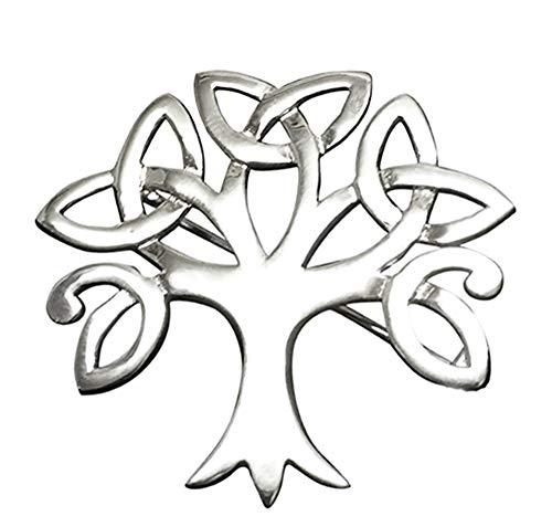 Broche de plata de ley con diseño de árbol de la vida celta de árbol de la vida, caja de regalo de piel sintética, tamaño: 38 mm x 38 mm, peso: 6 g, calidad premium, en caja de regalo 9099