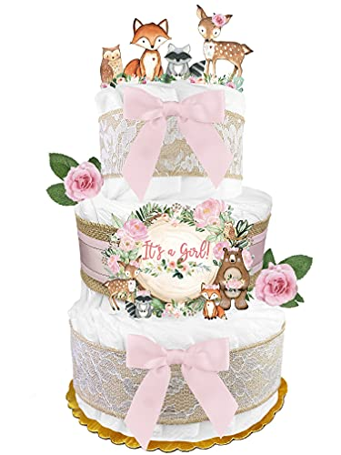 Woodland Creatures Diaper Cake - Girl Baby Gift - Burlap Pink and Sage...