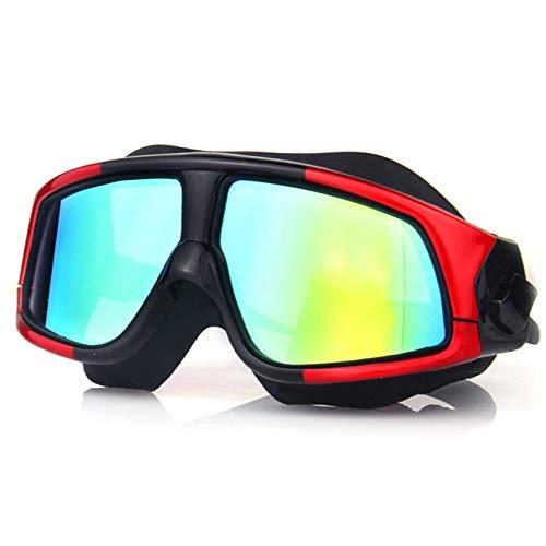 Anti-vaho protección UV Sin filtraciones visión Clara Gafas de Natación, Profesional Marco Grande Gafas Piscina con Correa de Ajustables para Deportes Acuáticos, Unisex, Adulto(Color: Red)