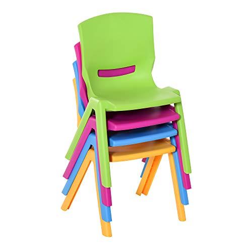 HOMCOM Sillas Apilables para Niños Juego de 4 Sillas de Aprendizaje para Interiores y Exteriores Escuela Hogar Jardín de PP Carga Máx. 30kg 36x38x56,5 cm Multicolor