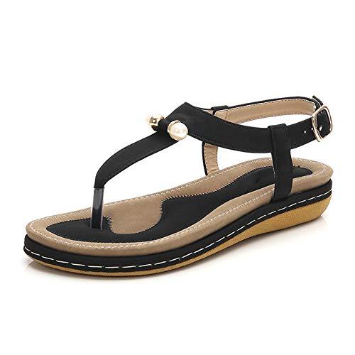 MARLU Chanclas de Mujer para Mujer Sandalias de Espuma viscoelástica cómodas, Playas, cómodas Sandalias Planas de Viaje para Caminar, Regalos para Mejores Amigos, tamaño (36-44),Negro,41