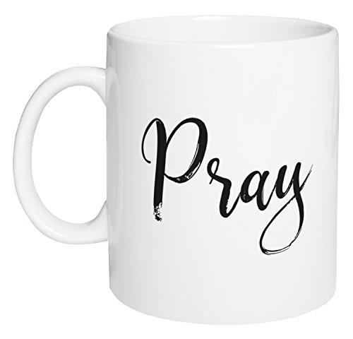 Pray Script Design White 15 Ounce Ceramic Coffee Mug