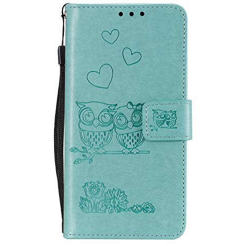 Miagon pour iPhone XS Max Coque,Coeur Fleur Hibou En Relief Modèle Pu Cuir Portefeuille Supporter Flip Cas Housse Etui avec Fentes pour Cartes Fermeture Magnétique