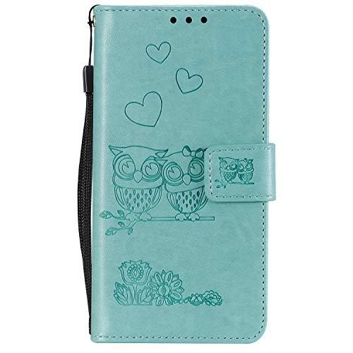 Miagon für Samsung Galaxy A71 Hülle,Geprägt Eule Blumen Herz Muster Pu Leder Ständer Flip Schutzhülle Tasche Brieftasche Etui mit Magnetverschluss Kartenhalter