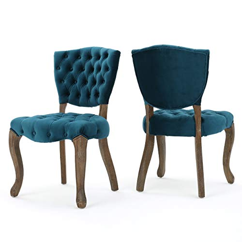 Christopher Knight Home Bates Tufted Velvet Fabric Dining Chairs, 2-Pcs Set, Dark Teal