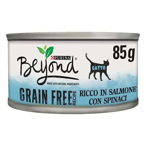 Purina Beyond Umido Gatto Grain Free Ricco in Salmone con Spinaci, Confezione da 12x 85 g