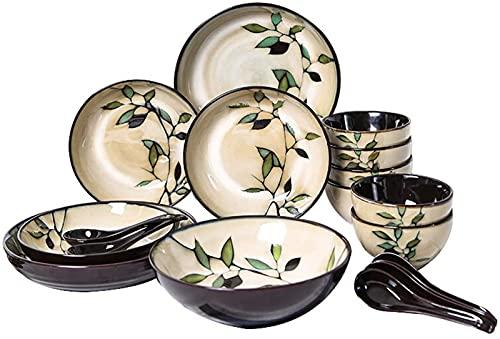 Juego de Platos, Juego de vajillas de cerámica con 18 Piezas, Placa/Placa/Cuchara | Conjunto de combinación de bambú de glaseado de Horno, Euro Ceramica