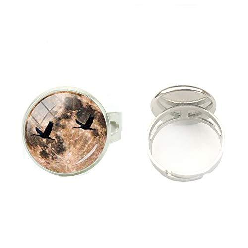 Handbemalter Kunstschmuck verstellbarer Ring Anel Hogwarts Wappen Vintage Heiligtümer des Todes Steampunk Bague Ringe Herren Glas Rund Ring