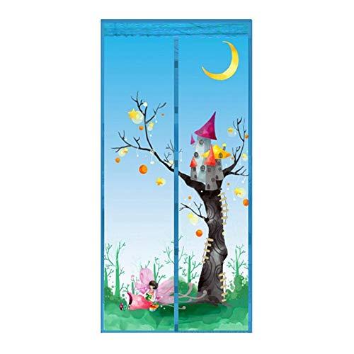 Cortina de puerta anti-mosquitos doméstica de verano tira magnética cortina de casa duradera flor cuadrada de hadas pantalla de puerta de cortina a prueba de insectos A2 W110xH210