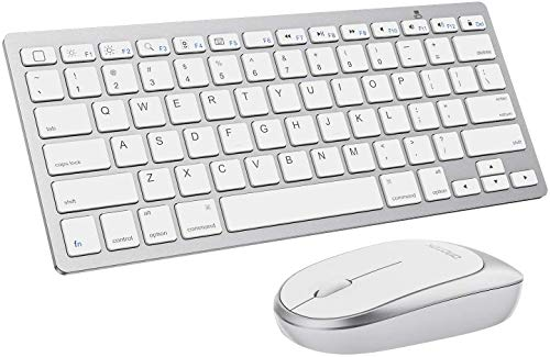 iPad Keyboard and Mouse Combo, OMOTON Wireless Bluetooth Keyboard Mouse for iPad Pro 12.9/11, iPad 7th Generation 10.2, All iPad (iPadOS 13 and Above), and Other Bluetooth Enabled Devices, White