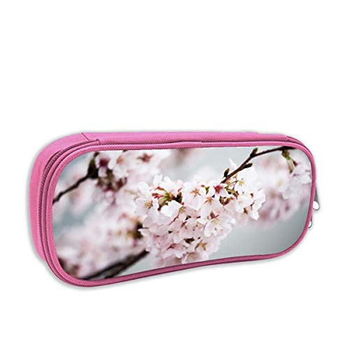 QiangQ Cherry Blossoms Student Print Stationery Pouch Bag with Zipper