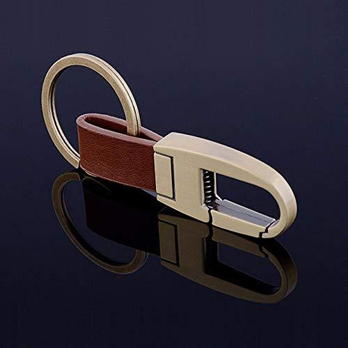 CHANGFUSHEN Llavero de Cuero de los Hombres del Coche de Metal Llavero Key Holder Funcional Herramienta Clave Accesorios innovadores de llaveros (Color : Bronze, Size : Gratis)